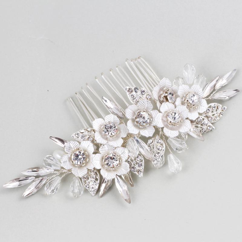 [해외]ping 수제 크리스탈 Rhinestones 진주 꽃 웨딩 헤어 빗 신부 머리 장식 헤어 액세서리 웨딩 쥬얼리/ping Handmade Crystals Rhinestones Pearls Floral Wedding Hair Comb Bridal Headpieces