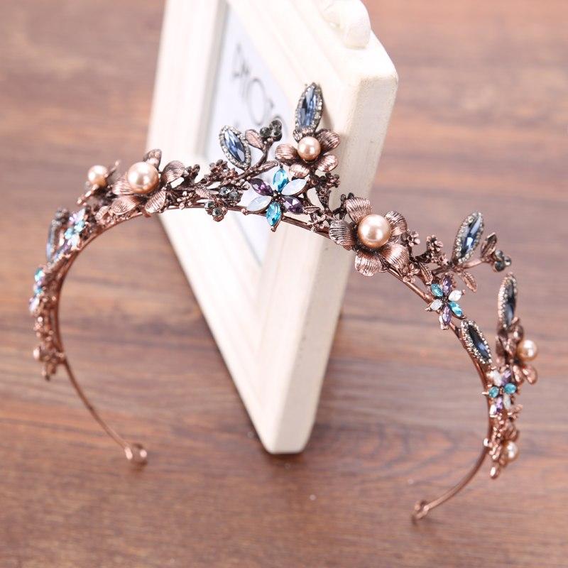 [해외]왕실 유럽 티에라 크라운 황금 바로크 퀸 쥬얼리 헤어 밴드 크라운 헤어 장식품 축제 액세서리/Royal European Tiara Crown Golden Baroque Queen Jewelry Hairband Crowns Hair Ornaments Festiva