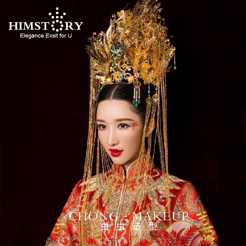 [해외]고급스러운 어 번체 피닉스 코로 넷 긴 술 머리 장식 Cheongsam 신부 머리 장식 웨딩 헤어 액세서리/HIMSTORY Luxurious Chinese Traditional Phoenix Coronet Long Tassel Hairwear Cheongsam