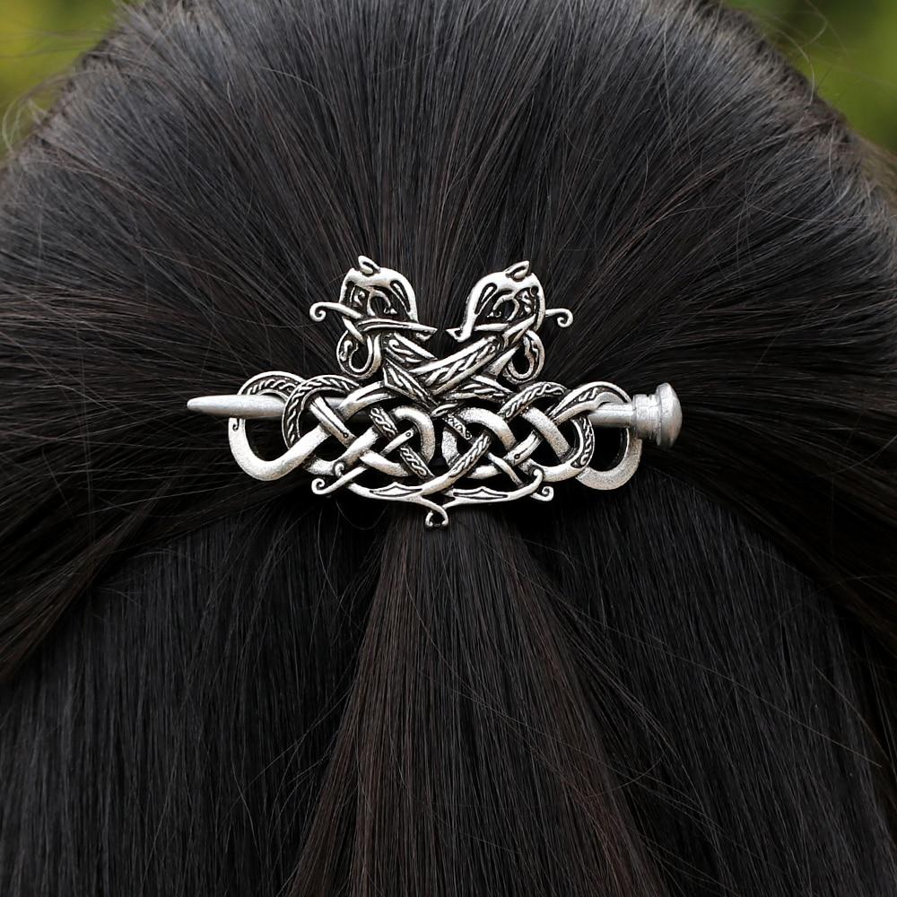 [해외]빈티지 여자 여자 대형 셀틱스 매듭 바이킹 룬즈 더블 헤드 드래곤 머리핀 헤어 클립 스틱 슬라이드 액세서리 F - 06/Vintage Women Girl Large Celtics Knots Viking Runes Double Heads Dragons Hairpi