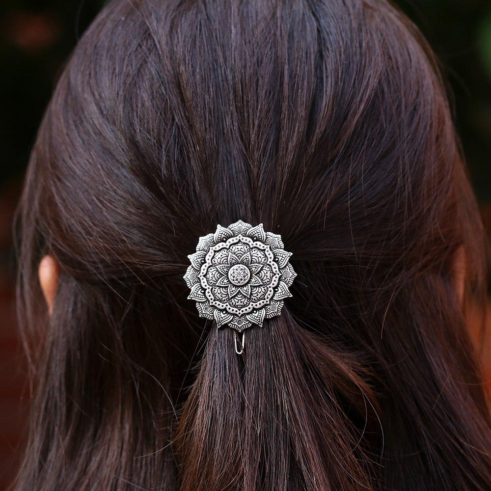[해외]만다라 목걸이 요가 선 만다라 명상 아트 헤어 클립 기하학 부적 머리핀 여자 헤어 액세서리 보석/Mandala Necklace Yoga Zen Mandala Meditation Art Hair Clip Geometry Amulet Hairpin Women Hai
