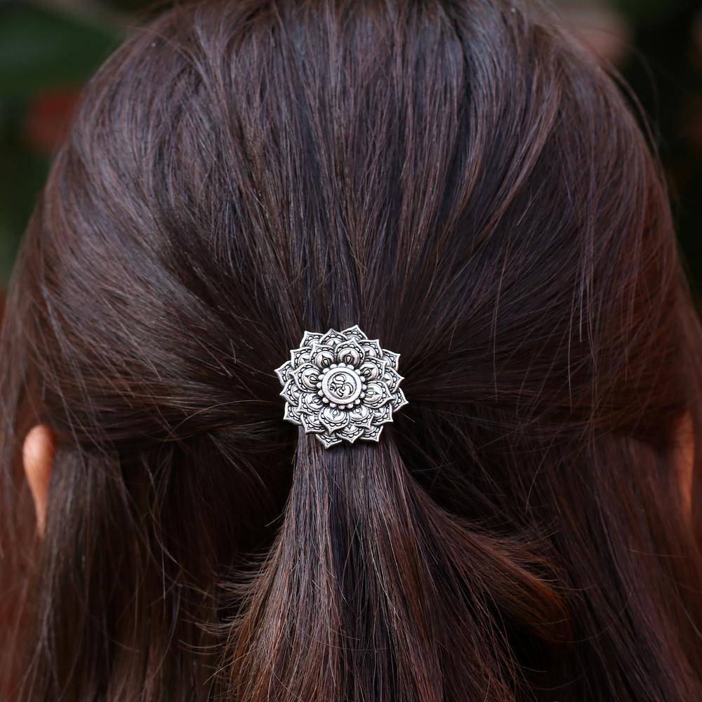 [해외]골동품 실버 요가 Chakra 만다라 OM 부적 로터스 헤어 클립 여성 헤어 쥬얼리 머리핀/Antique Silver Yoga Chakra Mandala OM Amulet Lotus Hair Clip Women Hair Jewelry Hairpin