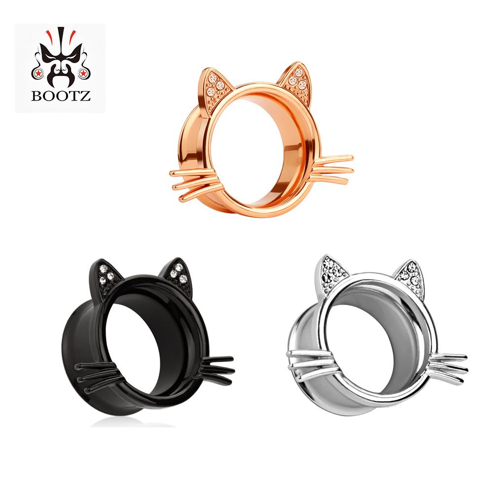 [해외]2018 새로운 KUBOOZ 보석 귀 플러그 고양이 귀 터널 크리스탈 스테인리스 실버와 블랙 귀 피어싱/2018 new KUBOOZ jewelry ear plugs cat ear tunnel crystal stainless steel silver and blac