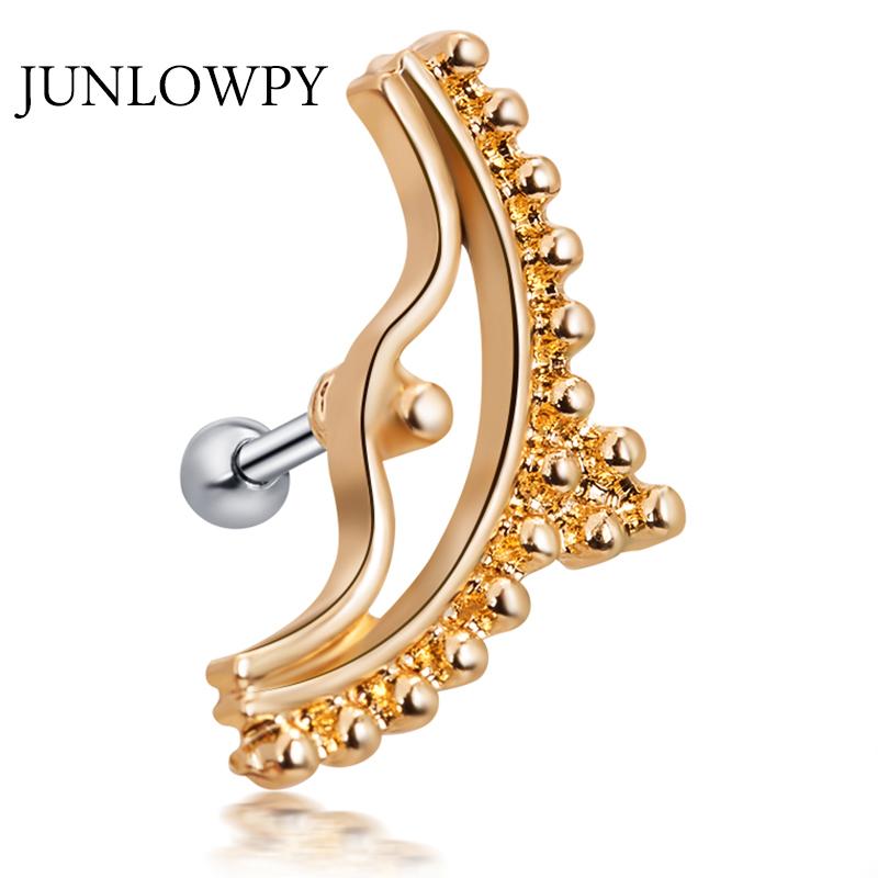 [해외]JUNLOWPY 1pcs 여성 새 Silve 골드 스타 지르콘 연골 스터드 귀걸이 Tragus 헬릭스 귀 피어싱 상단 어퍼 바디 쥬얼리/JUNLOWPY 1pcs Woman New Silve Gold Star Zircon Cartilage Stud Earring