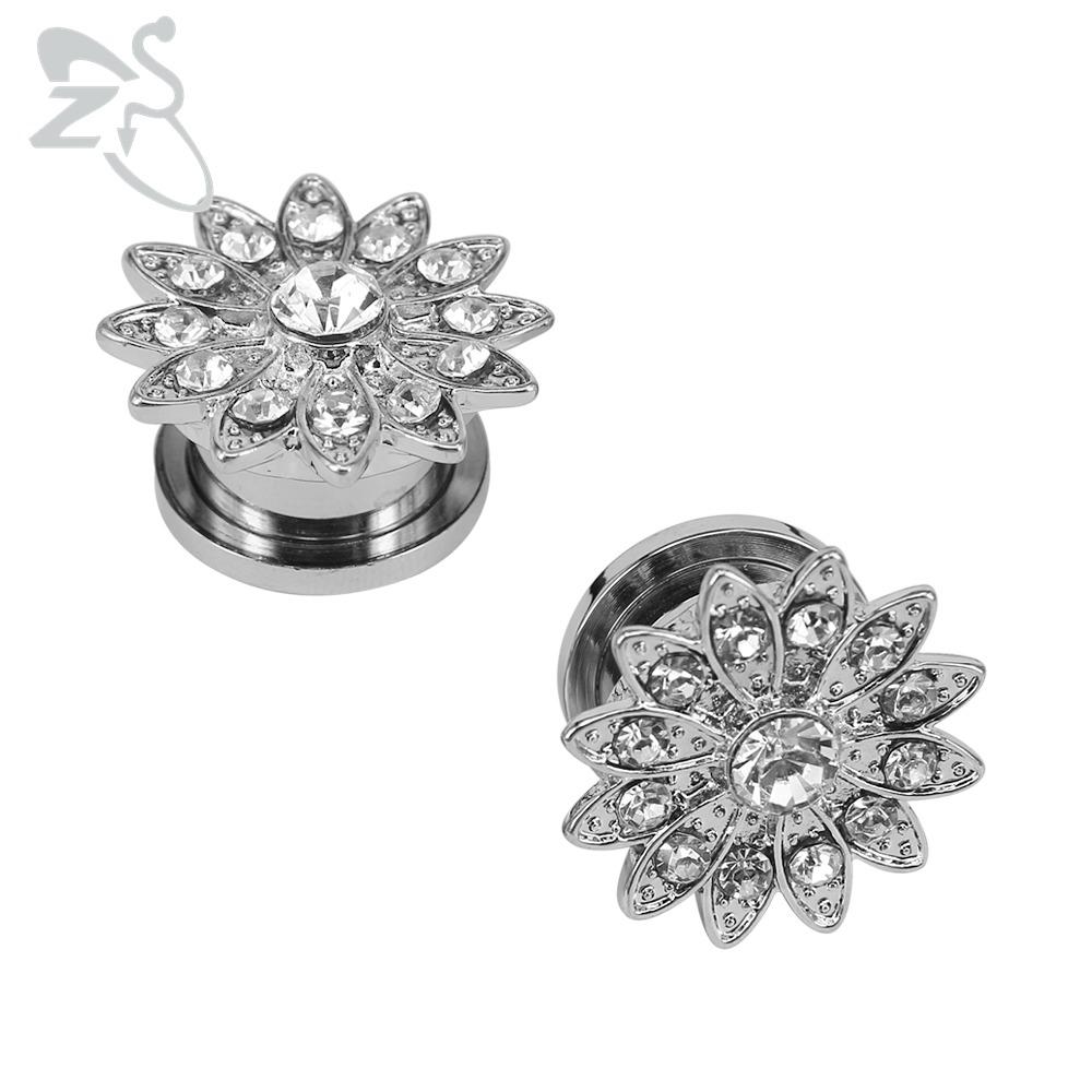 [해외]화려한 꽃 CZ 크리스탈 귀 플러그 확장기 AAA 큐빅 지르코니아 귀 Stretchers 피어싱 스테인레스 스틸 귀 플러그 및 터널/Brilliant Flower CZ Crystal Ear Plugs Expander AAA Cubic Zirconia Ear St