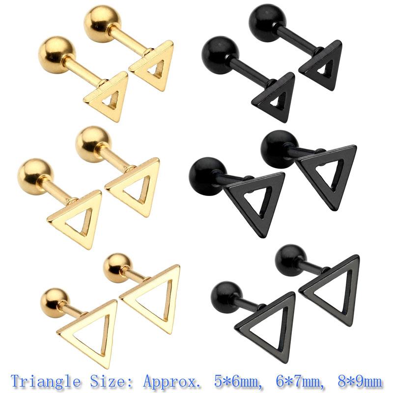 [해외]?1 쌍 펑크 스테인레스 스틸 삼각형 헬릭스 연골 / Tragus Barbell / Stud Ear Piercing 16G 골든 블랙 컬러/ 1 pair Punk Stainless Steel Triangle Helix Cartilage/Tragus Barbell