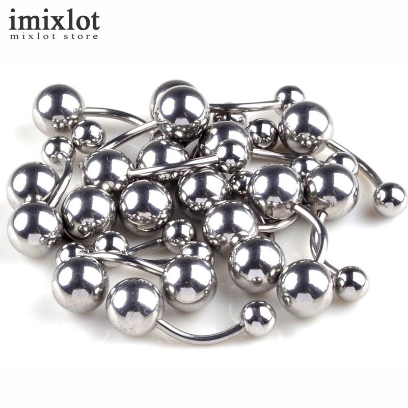 [해외]이믹 슬롯 20pcs / lot 티타늄 도금 피어싱 배꼽 버튼 링 15G 배꼽 피어싱 Nombril Ombligo Steel Body Jewelry Silver/Imixlot 20pcs/lot Titanium Plating Piercing Belly Button