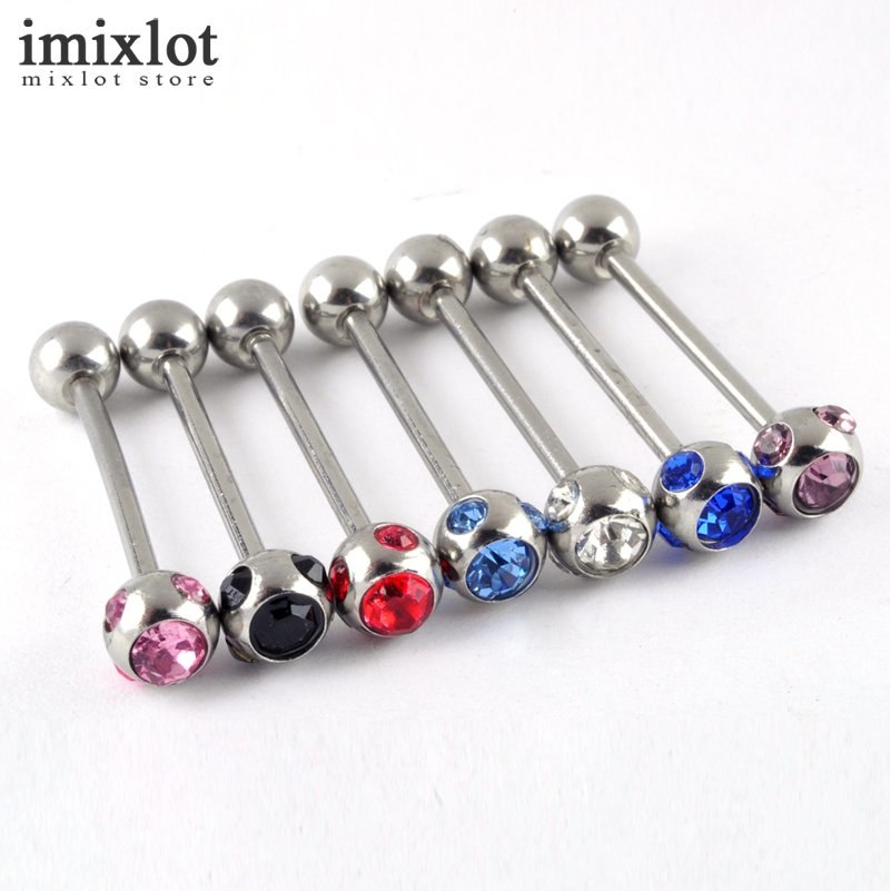 [해외]Imixlot 12pcs / set 스테인레스 스틸 체코 크리스탈 Labret 입술 혀 피어싱 바 Barbell Fashion Body Jewelry/Imixlot 12pcs/set Stainless Steel Czech Crystal Labret Lip Ton