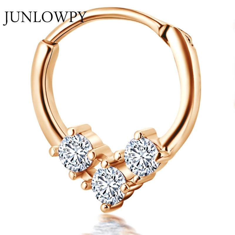 [해외]JUNLOWPY 1pcs 하트 지르콘 피어싱 코 인도 쥬얼리 세그먼트 힌지 링 나리 세셉 Septum 리모콘 귀걸이 Tragus Body jewellry/JUNLOWPY 1pcs Heart Zircon Piercing Nose India Jewelry Segme