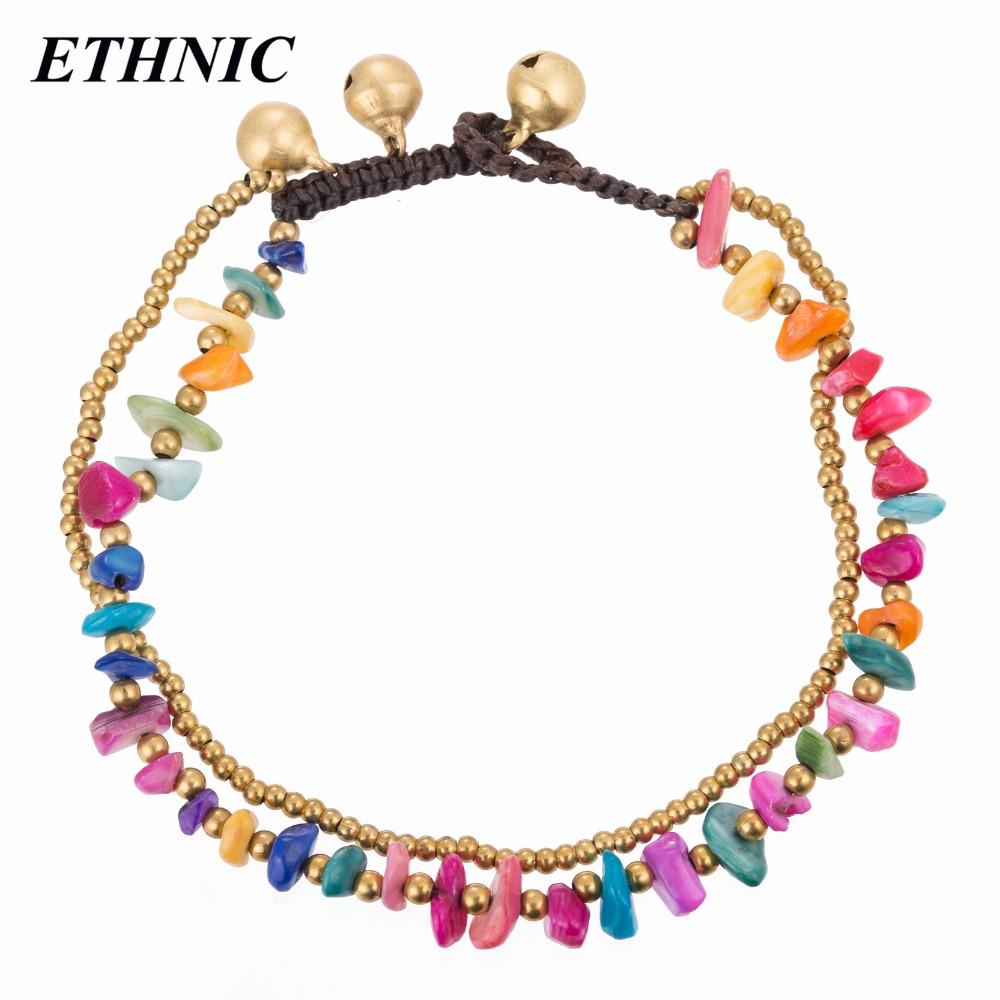 [해외]ETHNIC 브랜드 보헤미안 두 레이어 다채로운 스톤즈 골드 컬러 비즈 체인 발목 여성용 앵클릿 Beach Ankle Bracelet/ETHNIC Brand Bohemian Two Layers Colorful Stones Gold-Color Beads Chain