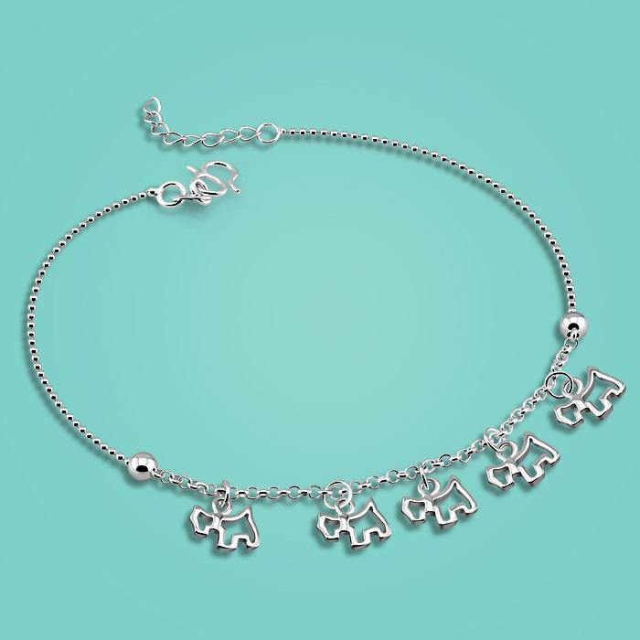 [해외]여자 925 스털링 실버 anklets, 귀여운 강아지 펜던트 디자인하지만 알레르기 실버 발 체인 길이 27cm, 소녀를생일 선물/woman 925 sterling silver anklets,Cute puppy pendant design But allergies