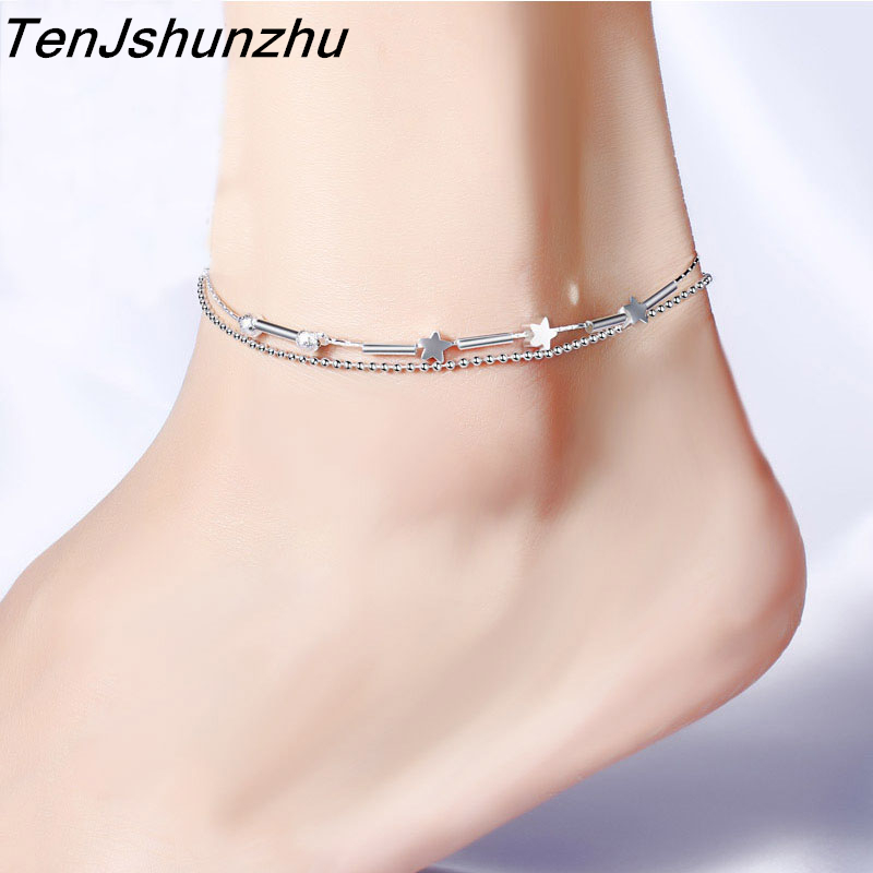 [해외]핑 925 스털링 실버는 알레르기 보석 방지 2 레이어 멀티 행 비즈 & amp; 스타 앵클릿 브레이슬릿 SL276/ping 925 Sterling Silver Prevent Allergy Jewelry 2 layers Multi-Rows Beads &a