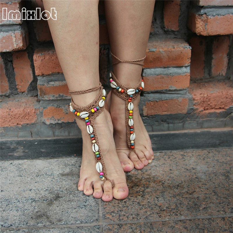 [해외]2pcs 수제 니트 자연 쉘 레이스 구두 여름 여성 발목 쥬얼리 보헤미안 맨발 샌들 Anklets/2pcs Handmade Knitted Natural Shell Lace Anklet Summer Women Ankle Foot Jewelry Bohemian Ba