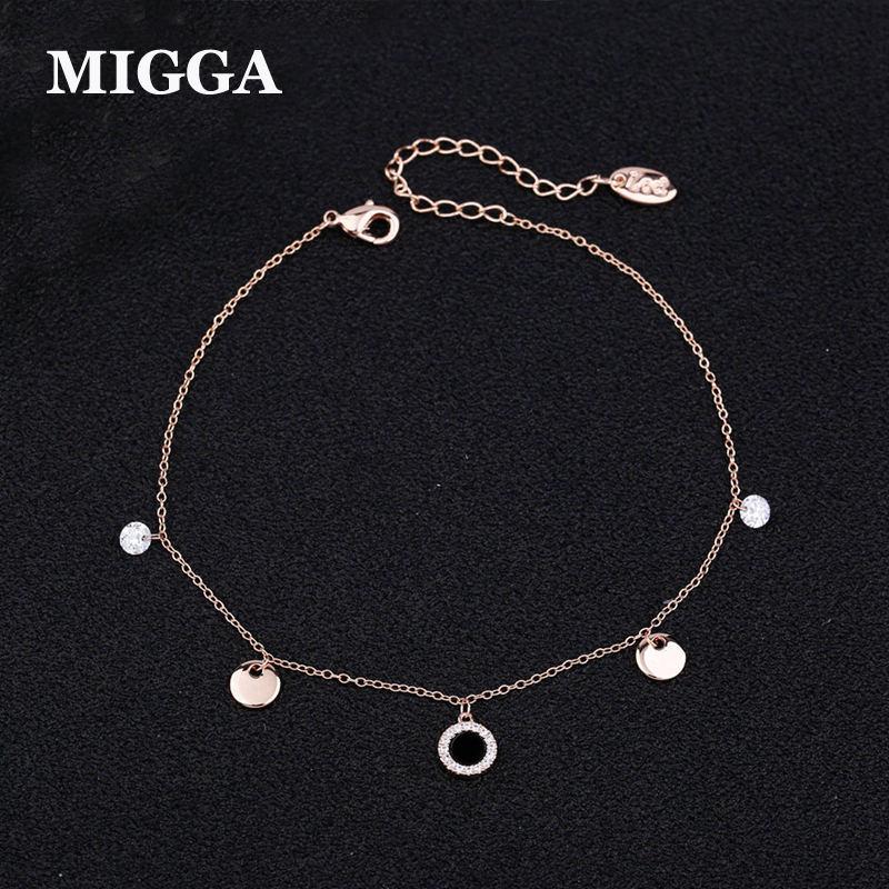 [해외]MIGGA 섬세한 입방 지르콘 블랙 라운드 펜던트 목걸이 발목 장식 / 화이트 골드 컬러 여성용 앵클 체인/MIGGA Delicate Cubic Zircon Black Round Pendant Anklet Bracelet Rose/White Gold Color