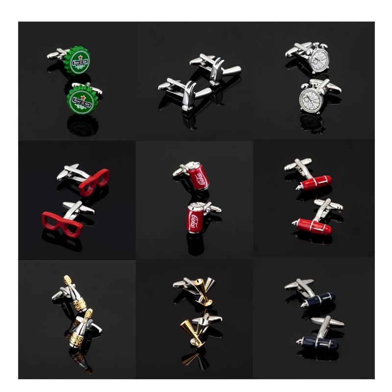 [해외]고품질 남자 & s 사업 커프스 단추 매일 공구 모형 커프스 단추 / 병 또는 유리 또는 자명종 또는 의류 부속품/High quality men&s business Cufflinks daily tool model Cufflinks / pen / bottl