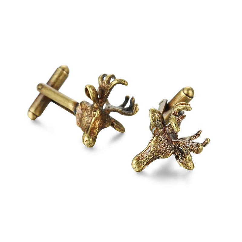 [해외]클래식 남성 & 커프스 단추 황동 12 조디악 동물 모양 사슴 머리 커프스 단추/Classic men&s Cufflinks brass 12 zodiac animal shape China of deer head Cufflinks