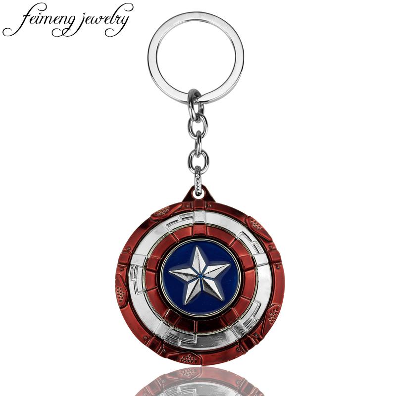 [해외]feimeng 보석 어벤저 스 캡틴 아메리카 키 체인 슈퍼 히어로 스타 실드 펜던트 Keyring 패션 자동차 열쇠 고리 액세서리/feimeng jewelry The Avengers Captain America Keychain Superhero Star Shie