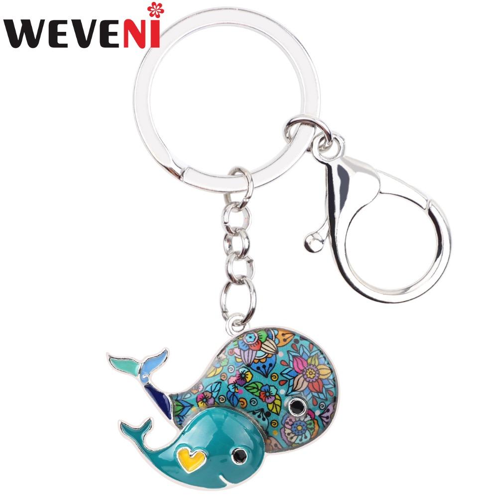 [해외]WEVENI 고래 열쇠 고리 열쇠 고리는 매력 장식 열쇠 고리 새로운 에나멜 열쇠 고리 패션 오션 여성을동물 쥬얼리 핸드백/WEVENI Whale Key Chain Key Ring Handbag Charm Decoration Key Holder New Ename