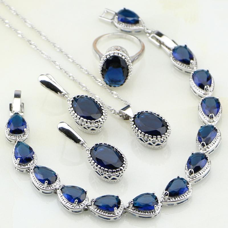 [해외]크라운 블루 큐빅 지 르 코니 아 브라 쥬얼리 세트 여자 귀걸이 / 펜 던 트 / 목걸이 / 팔찌 / 반지에 대 한 925 스털링 실버 쥬얼리/Crown Blue Cubic Zirconia Bridal Jewelry Sets 925 Sterling Silver
