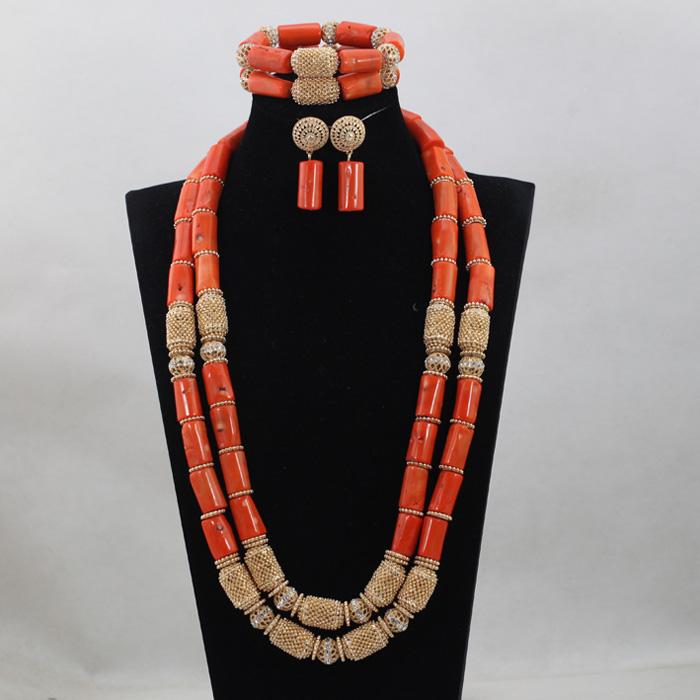 [해외]화려한 2 층 산호 목걸이 팔찌 귀걸이 세트 자연 튜브 산호 골치 아픈 건의 신부 보석 세트 2017 새로운 CNR746/Splendid 2 Layers Coral Necklace Bracelet Earrings Set Natural Tube Coral Bead