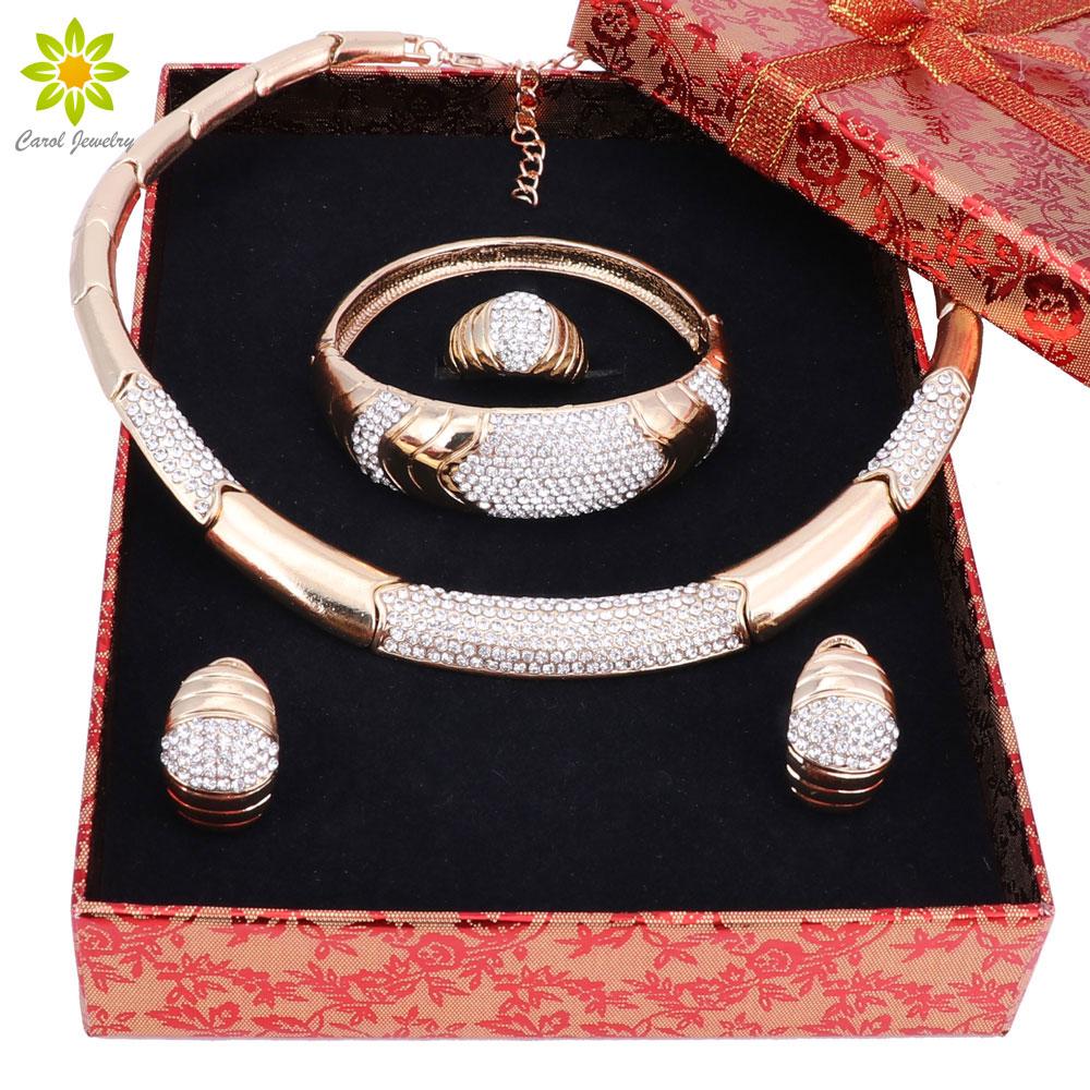 [해외]아프리카 라인 석 쥬얼리 골드 컬러 목걸이 귀고리 팔찌 반지 세트 신부 웨딩 의상 쥬얼리 세트 + 선물 상자/African Rhinestone Jewelry Gold Color Necklace Earrings Bracelets Ring Set Bridal Wed