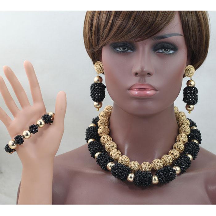 [해외]환상적인 블랙과 골드 웨딩 크리스탈 쥬얼리 세트 여성 의상 쥬얼리 세트 두바이 브라 쥬얼리 세트 WE079/Fantastic Black and Gold Wedding Crystal Jewelry Sets Women Costume Jewellery Sets Dub