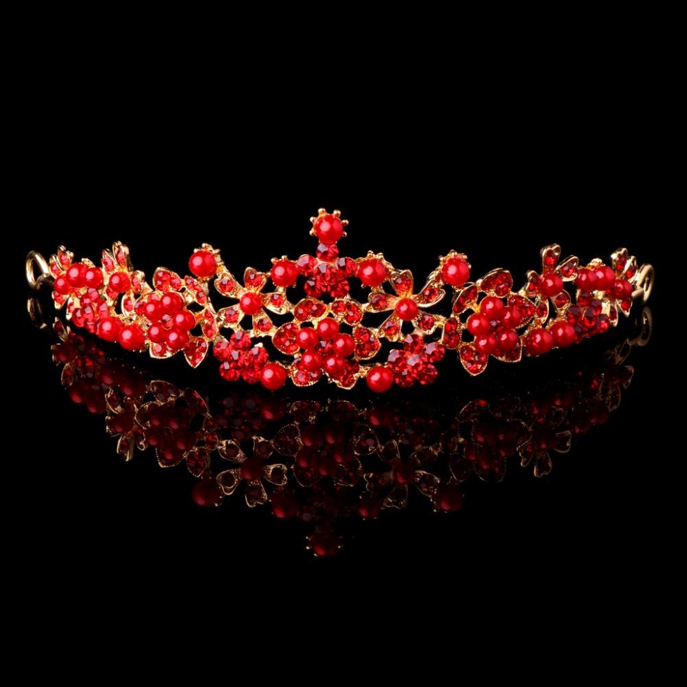 [해외]JAVRICK 2017 새로운 신부의 결혼식 빨간 라인 석 가짜 진주 티아라 머리띠 크라운 헤어 액세서리 2S40670/JAVRICK 2017 New Bridal Wedding Red Rhinestone Faux Pearl Tiara Headband Crown