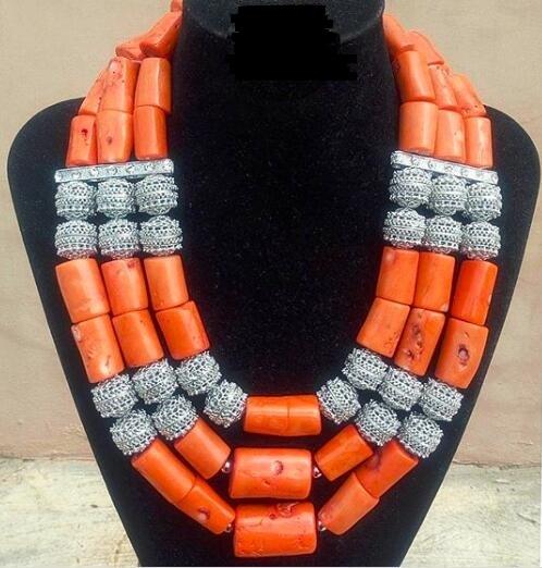 [해외]수제 3 레이어 진짜 산호 구슬 Chunky 여성 쥬얼리 세트 실버 액세서리 아프리카 신부 의상 쥬얼리 세트 CNR046/Handmade 3 Layers Real Coral Beads Chunky Women Jewelry Sets Silver Accessory