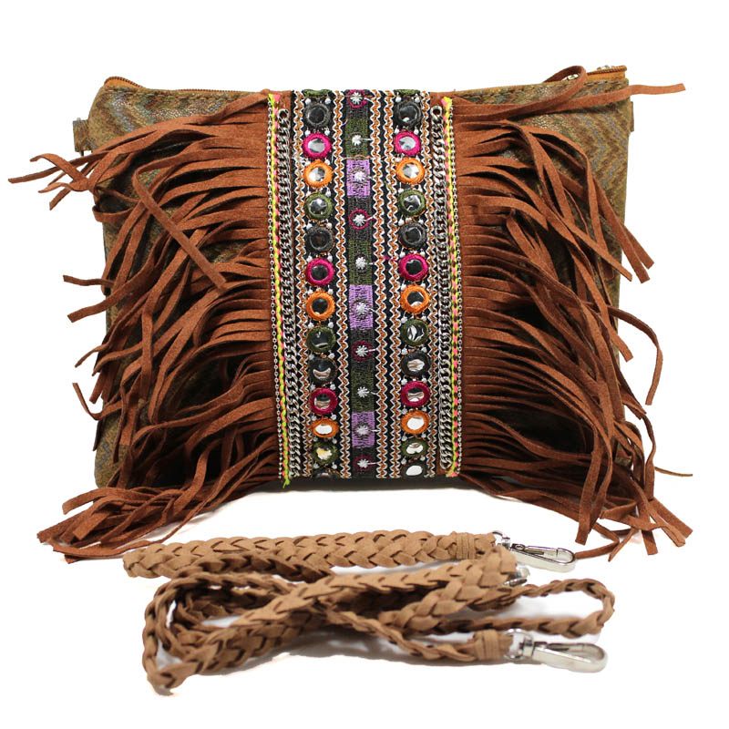 [해외]2018 보헤미안 백 커피 스피릿 태슬 크로스 바디 백 레트로 히피 ??디자이너 여성 & 집시 프린지 보헤미안 숄더 백/2018 Bohemian bag Coffee Spirit Tassel Cross Body Purse Retro Hippie Design