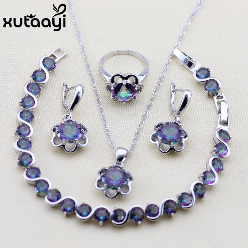 [해외]XUTAAYI 품질 925 실버 컬러 보석 여성을여러 가지 빛깔의 큐빅 지르코니아 매력적인 목걸이 / 반지 / 귀걸이 / 팔찌/XUTAAYI Quality 925 Silver color Jewelry For Women Multicolor Cubic Zirconi