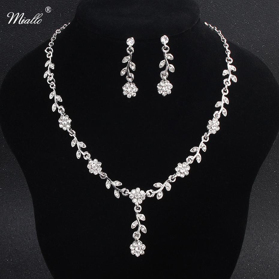 [해외]Miallo Charms 꽃 라인 석 쥬얼리 목걸이 귀걸이 세트 우아한 귀걸이 크리스탈 웨딩 신부 파티 펜던트 드롭 귀걸이/Miallo Charms Flower Rhinestone Jewelry Necklace Earrings Set Elegant Shinnin