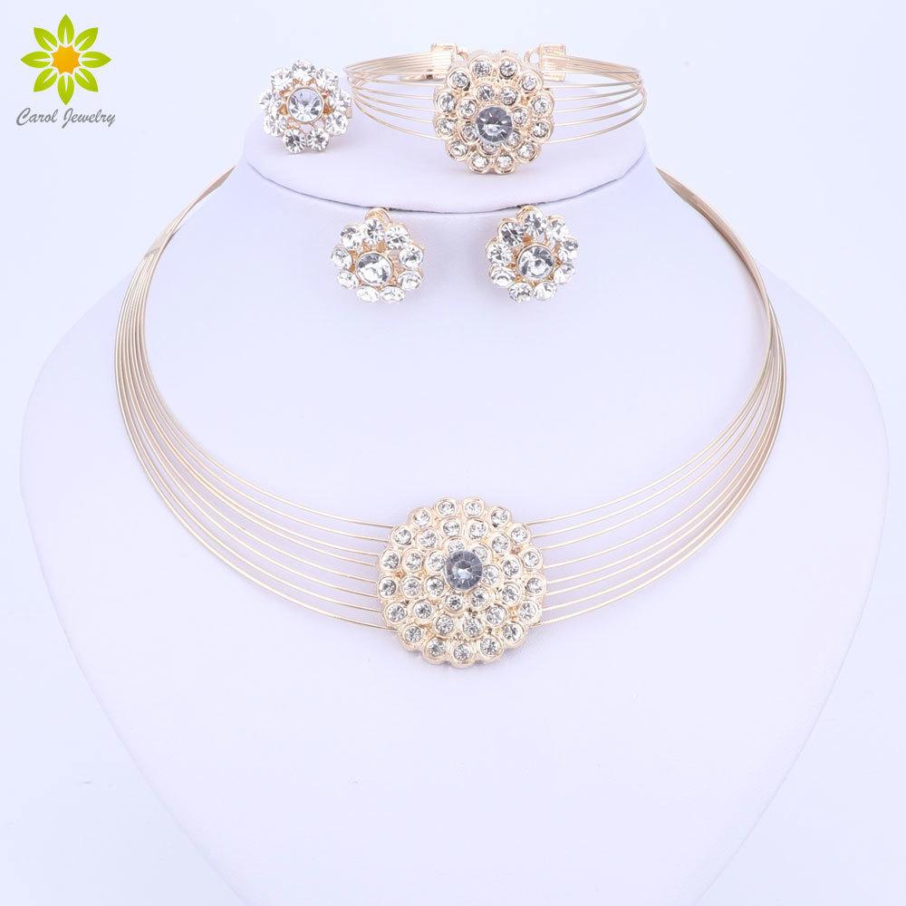 [해외]아프리카 구슬 쥬얼리 세트 여자 두바이 골드 컬러 의상 디자인 목걸이 귀걸이 팔찌 반지 보석 신부 선물/African Beads Jewelry Sets For Women Dubai Gold Color Costume Design Necklace Earrings B