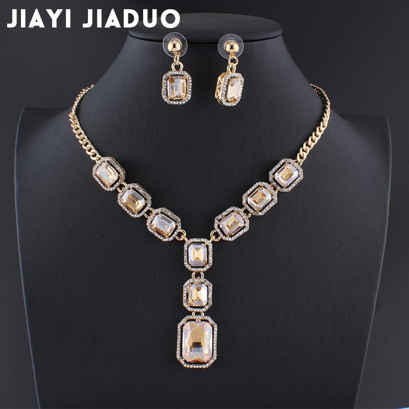 [해외]jiayijiaduo 신부 웨딩 파티 쥬얼리 parure bijoux 여성용 선물 쥬얼리 세트 여성용 골드 옐로우 크리스탈 목걸이/jiayijiaduo Bridal Wedding Party Jewelry parure bijoux femme gift jewelle