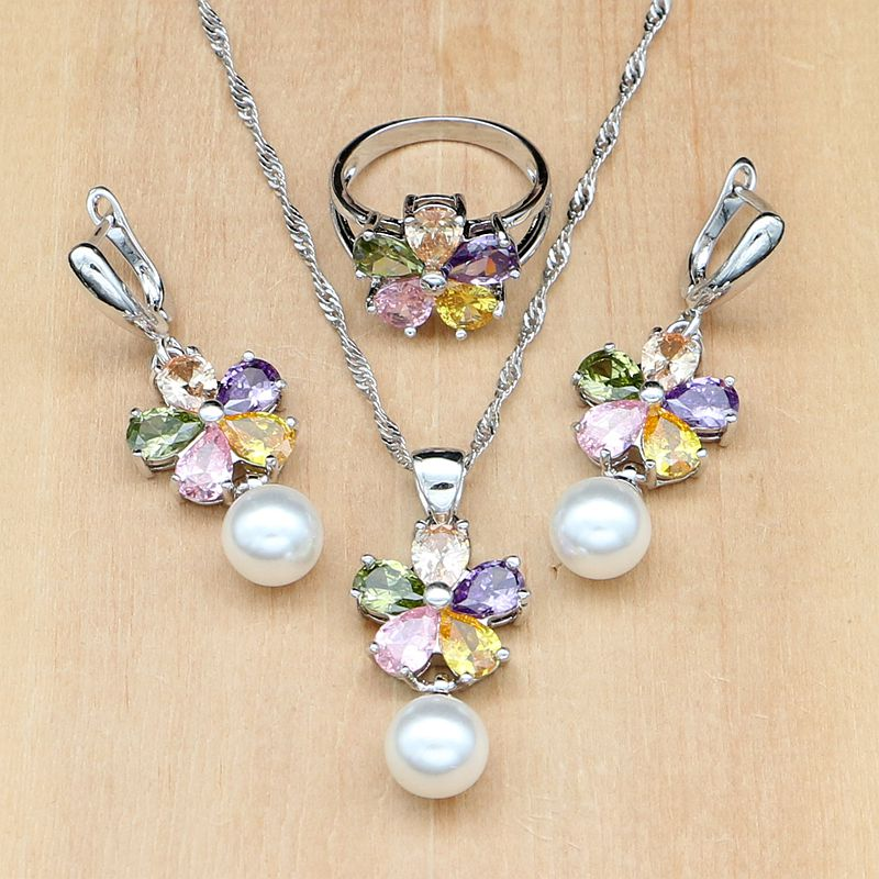 [해외]꽃 여러 가지 빛깔 된 CZPearls 보석 세트 여성 귀걸이 / 펜 던 트 / 반지 / 목걸이 세트에 대 한 925 실버 신부 보석/Flower Multicolored CZPearls Jewelry Sets 925 Silver Bridal Jewelry For
