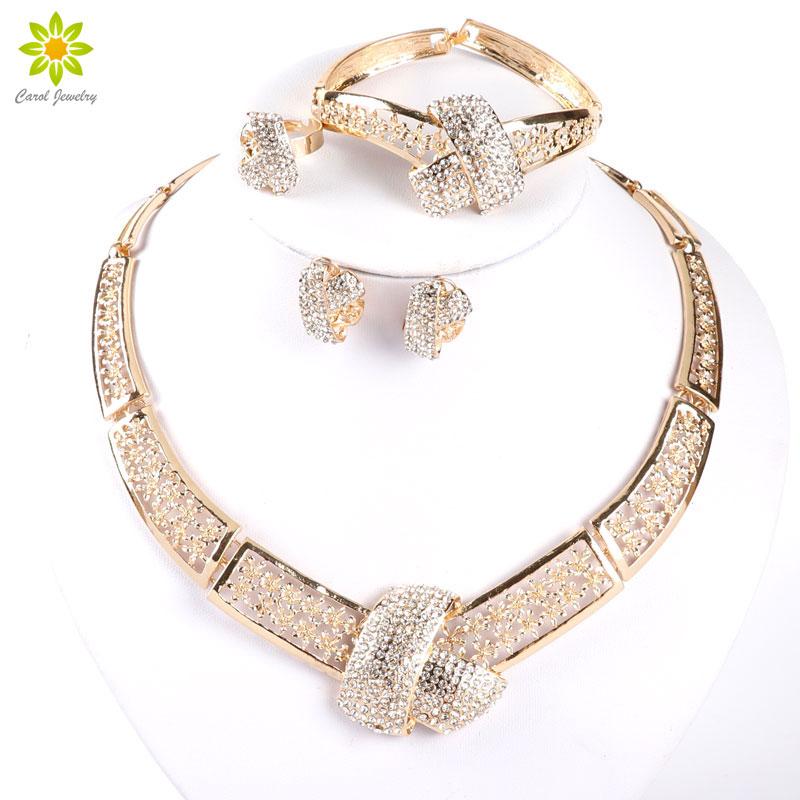 [해외]아프리카 의상 골드 컬러 크리스탈 웨딩 여성 신부 액세서리 두바이 아프리카 구슬 쥬얼리 세트/African Costume Gold Color Crystal Wedding Women Bridal Accessories Dubai African Beads Jewelr