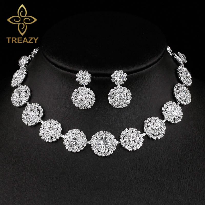 [해외]TREAZY 반짝 이는 실버 컬러 크리스탈 웨딩 쥬얼리 여성 성명서 초커 목걸이 귀걸이 세트 Bridal Jewelry Set/TREAZY Sparkling Silver Color Crystal Wedding Jewelry Set for Women Stateme