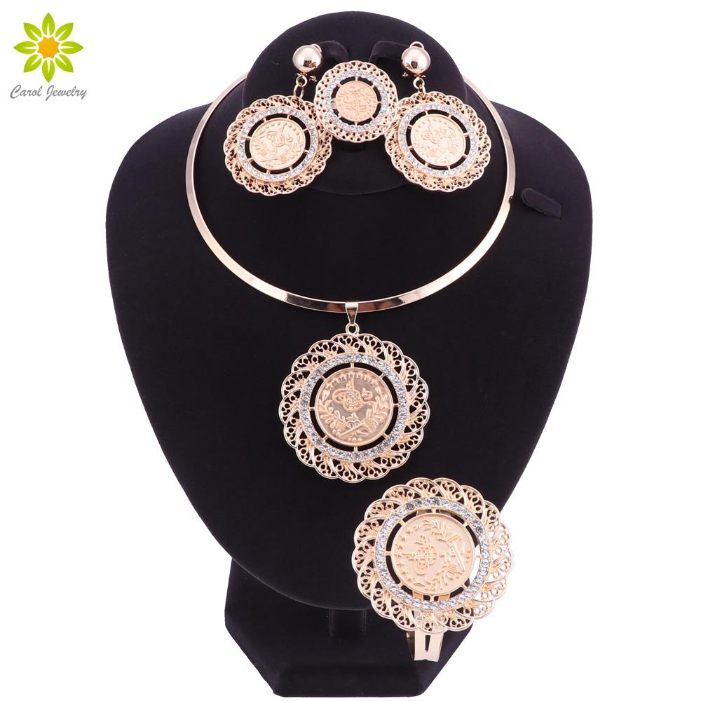 [해외]Meatl 동전 쥬얼리 세트 골드 컬러 동전 펜던트 목걸이 팔찌 귀걸이 반지 아프리카 / 아랍 / 터키 Coin Jewelry/Meatl Coin Jewelry sets Gold Color Coins Pendant Necklace Bracelet Earrings