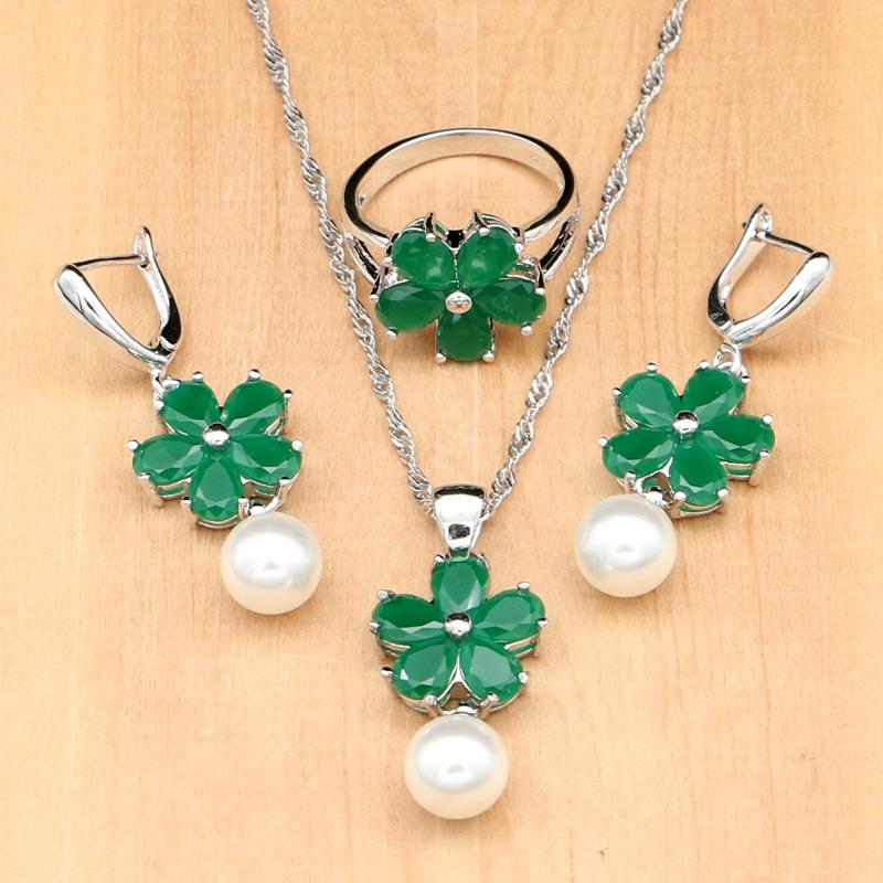 [해외]녹색 큐빅 지르코니아 화이트 진주 구슬 925 실버 쥬얼리 세트 웨딩 귀걸이 / 펜던트 / 목걸이 / 반지 / 팔찌/Green Cubic Zirconia White Pearls Beads 925 Silver Jewelry Sets For Women Wedding
