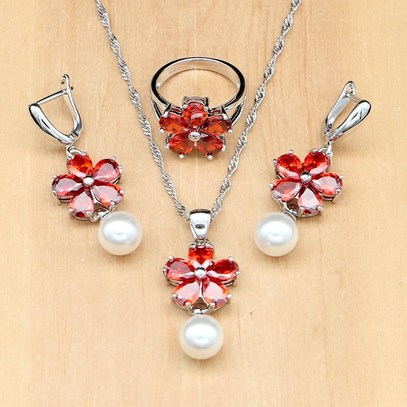 [해외]담수 진주 레드 지르콘 비즈 쥬얼리 세트 925 쥬얼리 웨딩 장식 여성을귀걸이 / 펜던트 / 반지 / 목걸이/Freshwater Pearl Red Zircon Beads Jewelry Sets Silver 925 Jewelry wedding decoration