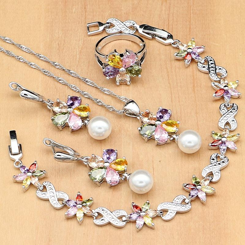 [해외]꽃 여러 가지 빛깔의 지르콘 화이트 진주 925 실버 쥬얼리 세트 여성 귀걸이 / 펜던트 / 반지 / 팔찌 / 목걸이 세트/Flower Multicolor Zircon White Pearls 925 Silver Jewelry Sets For Women Weddi