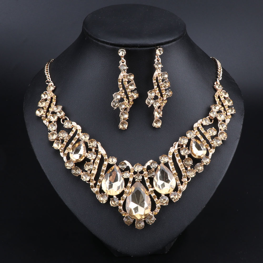 [해외]패션 인도 보석 귀걸이 크리스탈 목걸이 귀걸이 신부 쥬얼리 세트 파티 결혼식 의상 액세서리 장식/Fashion Indian Jewellery Crystal Necklace Earrings Bridal Jewelry Sets For Brides Party Wedd