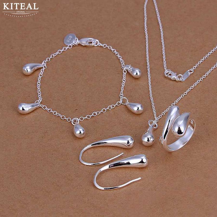[해외]Kiteal 고품질 보석 세트 925은 도금 물방울 쥬얼리 세트 목걸이 팔찌 팔찌 귀걸이 반지 SMTS223을 설정/Kiteal High quality jewelry set 925 stamped silver plated water drop jewelry sets