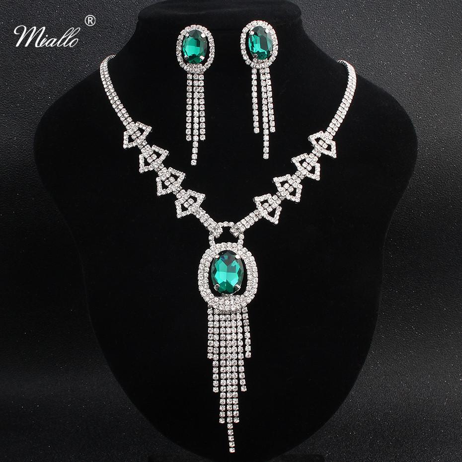 [해외]Miallo 유행 녹색 지르콘 돌 신부 보석은 매력 매력 술 목걸이를 설정한다 & 펜 던 트 귀걸이 웨딩 쥬얼리/Miallo Fashion Green Zircon Stone Bridal Jewelry Sets Charm Alloy Tassel Women