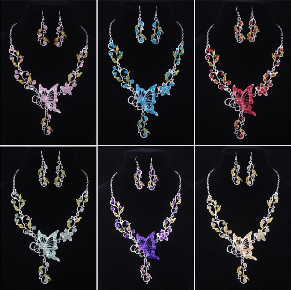 [해외]6 색 나비 쥬얼리 세트 목걸이 귀걸이 반지 봄 보석 여자를설정 신부 웨딩 선물 용품/6 colors Butterfly Jewelry Sets Necklace Earring Ring spring Jewelry Set For Women Bride Wedding G