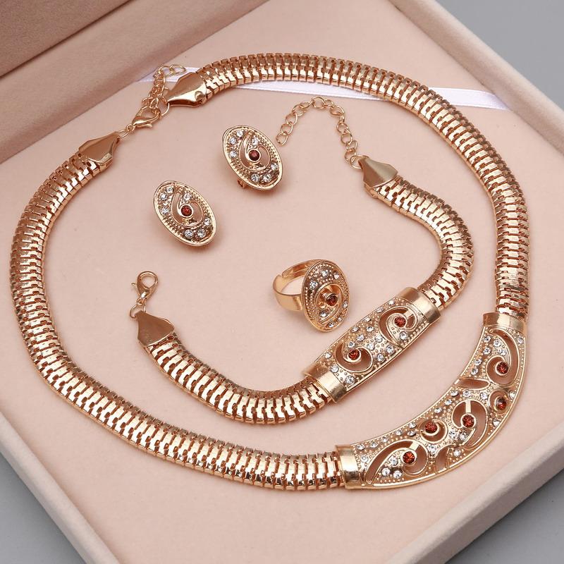 [해외]괜 찮 아 요 아프리카 구슬 쥬얼리 골드 문 목걸이 귀걸이 팔찌 반지 여성을설정 두바이 결혼식 신부 액세서리/Fine African Beads Jewelry Sets Gold Statement Necklace Earrings Bracelet Ring Sets F
