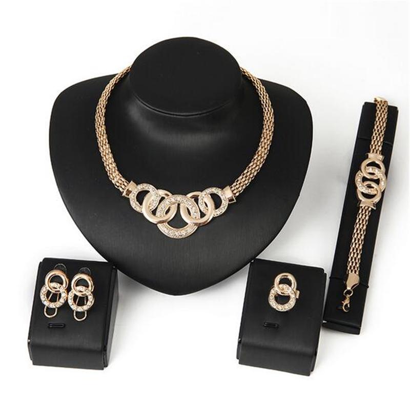 [해외]섬세한 빈티지 쥬얼리 세트 아프리카 구슬 선언문 초커 목걸이 팔찌 귀걸이 반지 크리스탈 골드 액세서리 여성을 설정/Delicate Vintage Jewelry Set African Beads Statement Choker Necklace Bracelet Earr
