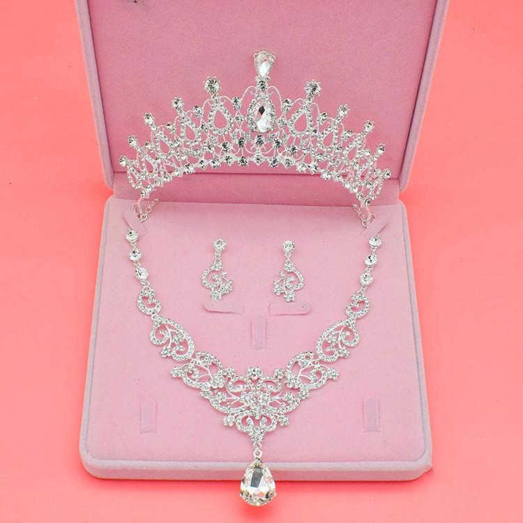 [해외]스파클링 실버 크리스탈 웨딩 신부의 쥬얼리는 여성을세트 웨딩 쥬얼리 액세서리 티아라 목걸이 귀걸이/Sparkling Silver Crystal Wedding Bridal Jewelry Sets For Women Decorations Wedding Jewelry