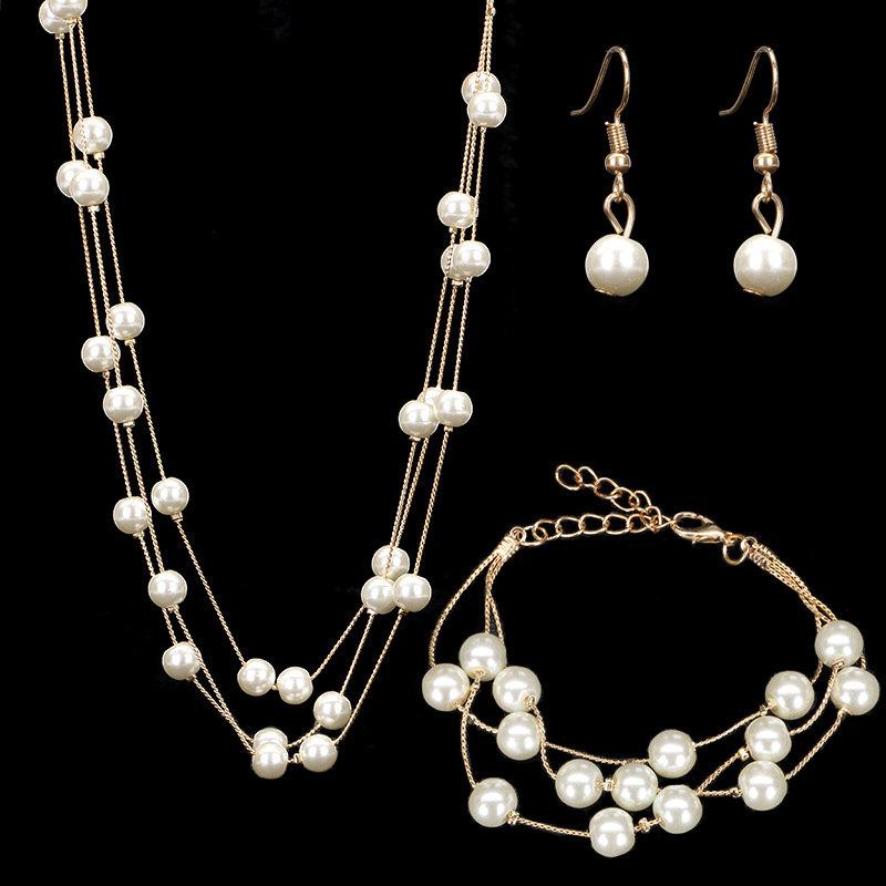 [해외]진주 쥬얼리 세트 패션 웨딩 목걸이 세트 신부 액세서리 팔찌 귀걸이 목걸이 여성용 세트/Pearls Jewelry Sets Fashion Wedding necklaces set Bridal Accessories Bracelets Earring Necklaces