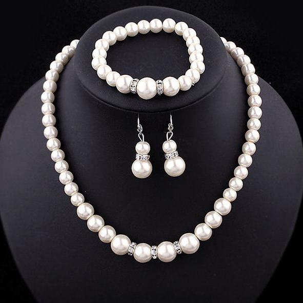 [해외]패션 우아한 시뮬레이션 된 진주 신부 쥬얼리 실버 컬러 크리스탈 목걸이 귀고리 설정 결혼식 보석 AT040 설정/Fashion Elegant Simulated Pearl Bridal Jewelry Sets Silver Color Crystal Necklaces