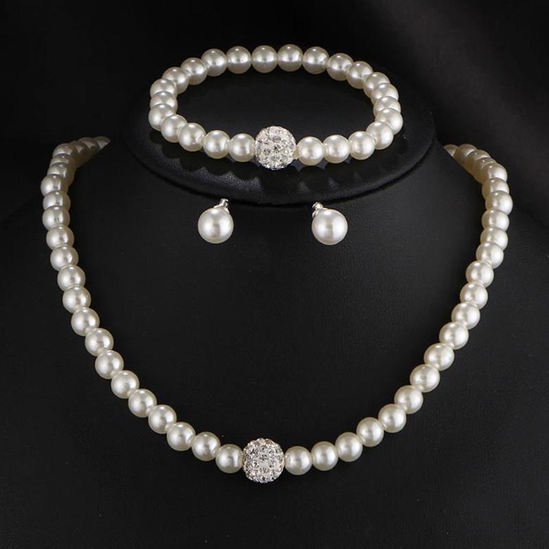 [해외]새로운 시뮬레이션 진주 웨딩 쥬얼리 세트 크리스탈 목걸이 파인 쥬얼리 파티 여성 비즈 비즈 귀걸이 액세서리 AT115/New Simulated Pearl Wedding Jewelry Set Crystal Necklace Fine Jewelry Party Wome